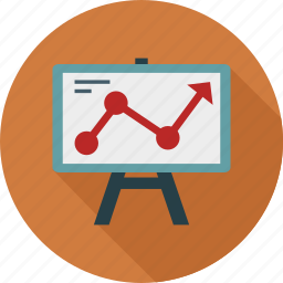 diagram, graph chart, graph on board, presentation icon