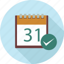 calendar, check and calendar, event, event schedule, schedule icon