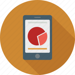 mobile graphs, mobile pie chart, mobile report, mobile reporting, pie chart, report, stats icon