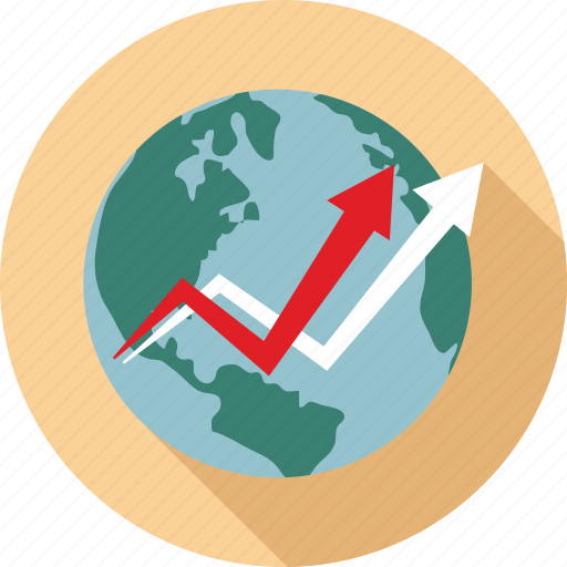 global trend, globe and graph, graphs, world graphs icon