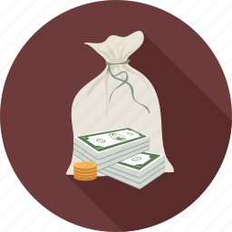 cash, coins, dollars, money in the bag icon