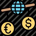imbalance, economic, global, deficit, trading icon
