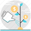 financial, investment, make money, management, money, tree, watering can icon