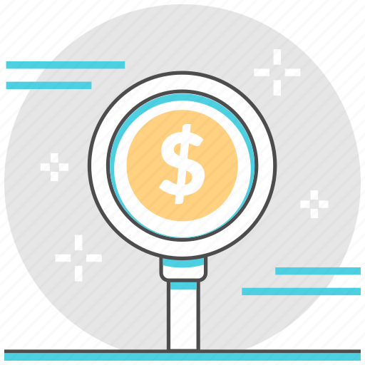 financial, investment, magnifying glass, management, money, research, search icon