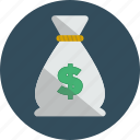 bag, bank, dollars, money icon