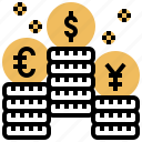 banking, currency, exchange, international, money icon