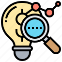 analysis, creative, data, inspection, research icon