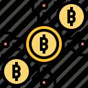 bitcoin, currency, digital, internet, money icon