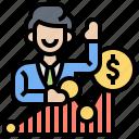 investor, broker, market, businessman, trader icon