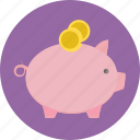 bank, coins, finance, pig, piggy bank, savings icon