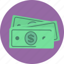 bills, cash, dollars, finance, money icon