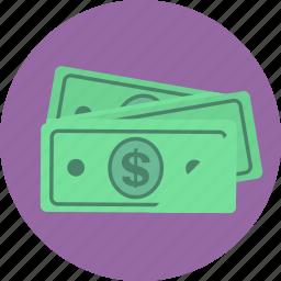 bills, cash, dollars, finance, money icon
