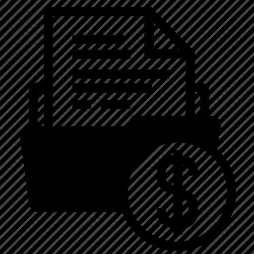 bill, document, file, finance, folder, infomation, money icon