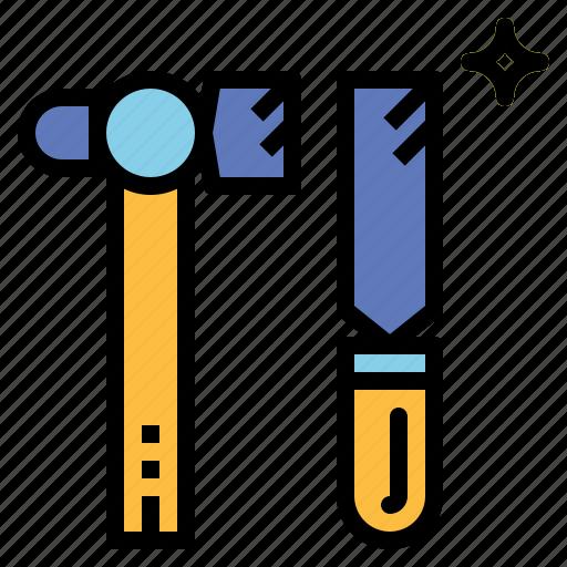 art, chisel, hammer, tool icon