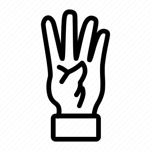 finger, four, fourth, hand icon
