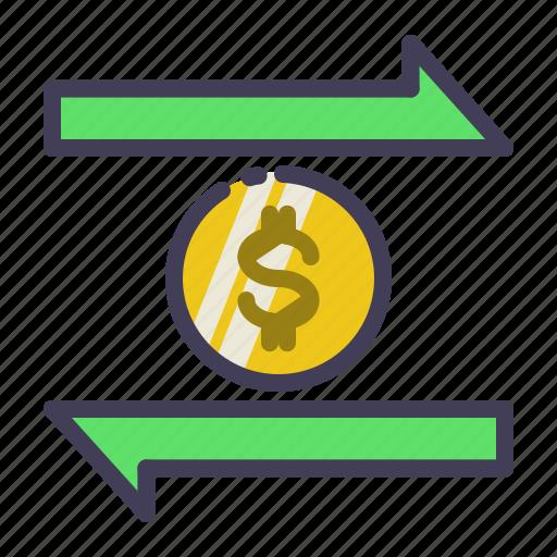 banking, coin, dollar, finance, transaction, transfer icon