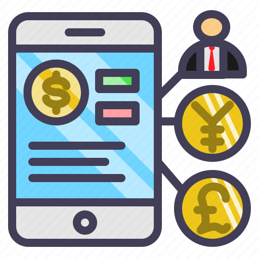 currency, finance, online, smartphone, trading icon