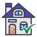 approved, building, finance, funding, home, loan, mortgage icon