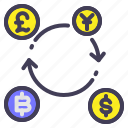 bitcoin, currency, dollar, finance, trading icon