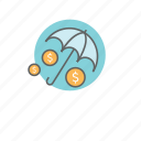 finance, insurance, money, protection, umbrella icon
