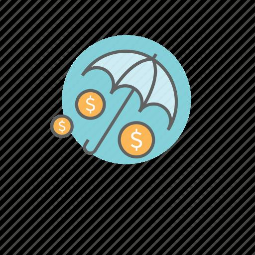 finance, insurance, money, protection, umbrella icon