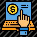finance, fintech, laptop, money, technology, trading icon