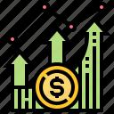 banking, fintech, graph, growth, profit icon