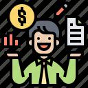 financial, intelligent, knowledge, literacy, skills icon
