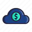 cloud, financial, fintech, solutions, technology icon
