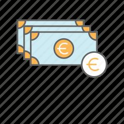 bills, cash, currency, euro, finance, money icon