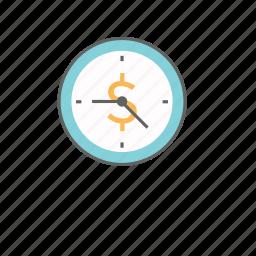 business, deadline, dollar, finance, management, money, time icon