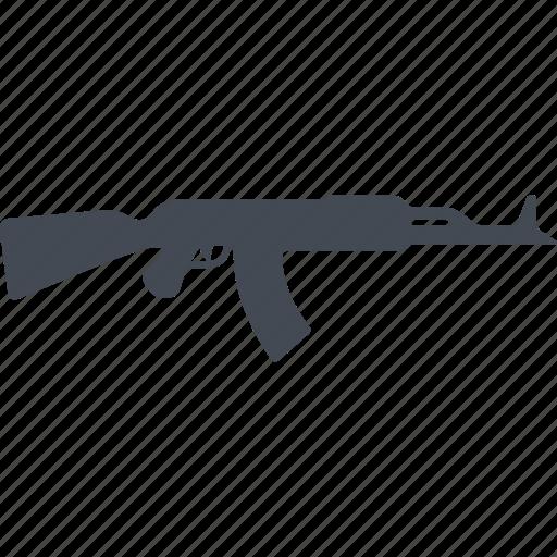 fire weapon, kalashnikov assault rifle, military, weapon icon