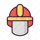 burn, fighter, fire, fireman, hat, helm, job icon