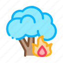 burning, conflagration, forest, tree icon