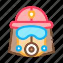 firefighter, glasses, helmet, mask icon