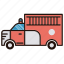 fire, transprtation, truck icon