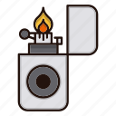 fire, flame, flint, lighter, smoke, smoking, zippo icon
