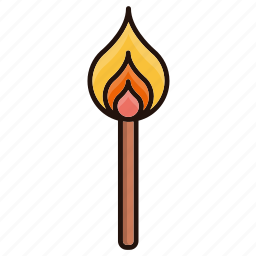 fire, flame, lighter, stick icon