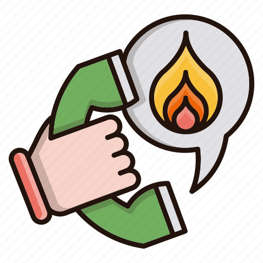 call, emergency, fire, mobile icon