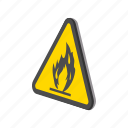 alarm, cartoon, caution, danger, flame, flammable, sign icon