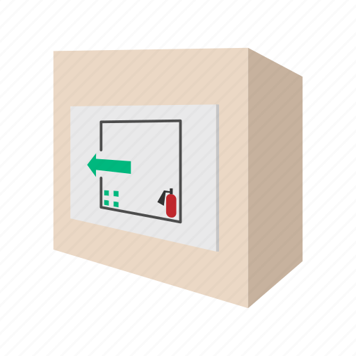cartoon, emergency, extinguisher, fire, safety, security, sign icon