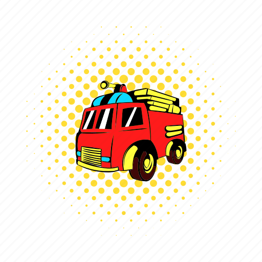 car, comics, emergency, engine, equipment, fire, truck icon