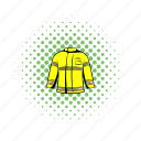 comics, emergency, fire, firefighter, fireman, jacket, protection icon