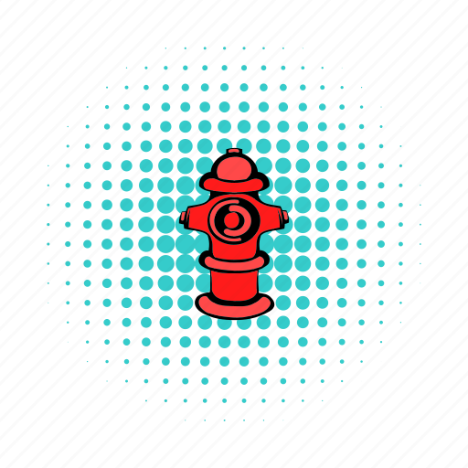 comics, equipment, fire, hose, hydrant, pipe, safety icon