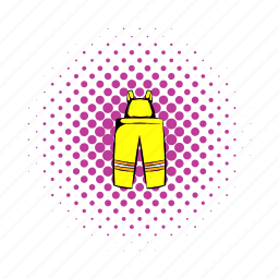 comics, emergency, fire, firefighter, fireman, pants, protection icon
