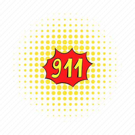 call, comics, emergency, fire, number, phone, police icon