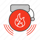 alarm, alert, bell, emergency, evacuation, fire, firefighter icon