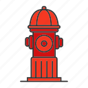extinguish, fire, firefighting, fireplug, hydrant, pipe, water icon