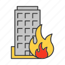 accident, building, burn, burning, fire, flame, house