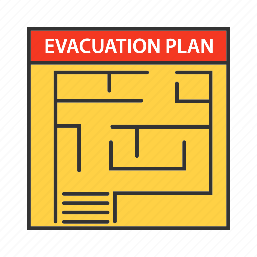 Emergency, escape, evacuate, evacuation, exit, firefighting, plan icon - Download on Iconfinder